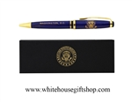 Presidential Eagle Seal Pen Blue, Gold trim, ballpoint pen, in custom  white house pen box, available from the original official White House Gift Shop since 1946 by Presidential Order.
