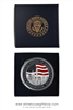 LARGE SILVER MEDALLION COIN, 2.5 INCH  DIAMETER, COMMEMORATES MONUMENTS, GREAT SEAL ON REVERSE, FROM OFFICIAL WHITE HOUSE GIFT SHOP, GIFT BOXED