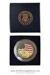 The White House, Washington DC challenge coin medallion, gold, red, midnight navy blue large