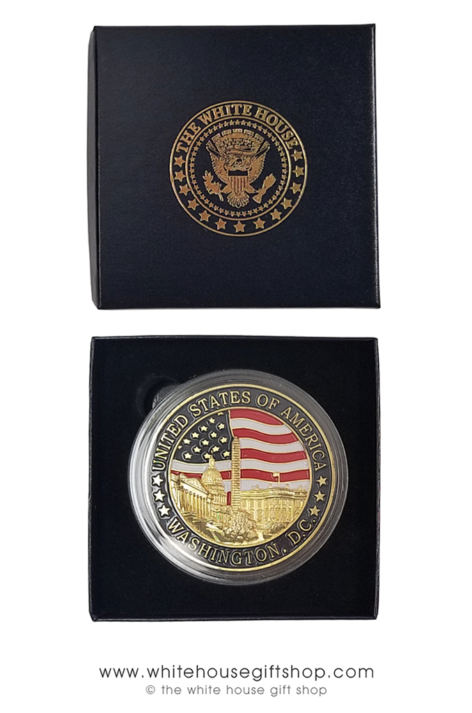 LARGE GOLD MEDALLION COIN, 2 5 INCH DIAMETER, COMMEMORATES MONUMENTS, GREAT  SEAL ON REVERSE, FROM OFFICIAL WHITE HOUSE GIFT SHOP, GIFT BOXED