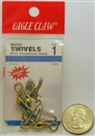 Eagle Claw Brass Barrel Swivels W/Coastlock Snap Size 1 01121-001