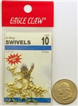 Eagle Claw Brass 3 Way Swivels Size 10 01251-010