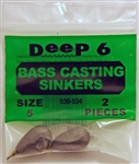 Deep 6 - Bass Casting Dipsey Sinkers - Size 5  3/4oz 030-034