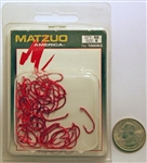 Matzuo Baitholder Offset Down Eye Hooks Size #6 Red Chrome 100063-6 50 Pack