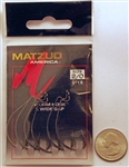 Matzuo X-Wide Gap J-Bend Worm Hooks Size #2/0 Black Chrome 110011-2/0