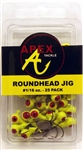 Apex Roundhead Jigs 1/6oz 25 Pack AP116-25-3 Chartreuse
