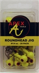 Apex Roundhead Jigs 1/4oz 20 Pack AP14-20-3 Chartreuse