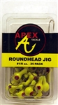 Apex Roundhead Jigs 1/8oz 25 Pack AP18-25-3 Chartreuse
