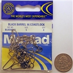 Mustad Black Barrel Swivels W/Coastlock Size-5 BLBSWC85