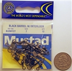 Mustad Black Barrel Swivels W/Interlock Snap Size-7 BLBWI127