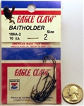 Eagle Claw Baitholder Hooks Size-#2 Bronze 186A-2 10 Pack