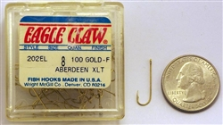 Eagle Claw Aberdeen Hooks Size-#8 Gold Extra-Light Wire 202EL-8 100 Pack