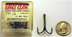 Eagle Claw Bronze 2X Treble Hooks Size-1/0 374R-1/0 5 Pack