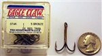 Eagle Claw Bronze 2X Treble Hooks Size-#1 374R-1 5 Pack