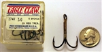 Eagle Claw Bronze 2X Treble Hooks Size-3/0 374R-3/0 5 Pack