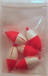 "Foam Slotted Peg Floats 2"" Oval Shape Red/White (Bag of 5)"
