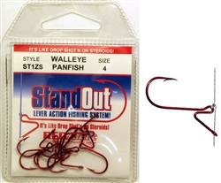 StandOut - Walleye Finesse Hooks - Red Alert - Size #4 - ST1ZS-4
