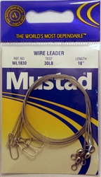 "Mustad Wire Leaders 18"" 30lb WL1830 Duolock Snaps"