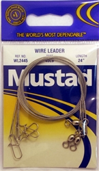 "Mustad Wire Leaders 24"" 45lb WL2445 Duolock Snaps"