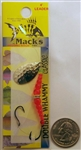 Mack's Double Whammy Spinner Bait #6 Hooks 17200 Hammered Nickel/Flo Orange