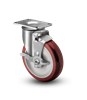 Medium Duty 3x1-1/4 Polyurethane Swivel Caster with Top Lock Brake