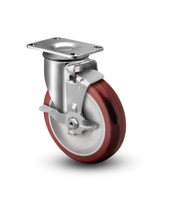 Medium Duty 5x1-1/4 Polyurthane Swivel Caster with Top Lock Brake