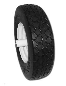 Flat Free Wheelbarrow Tire Assembly with Knobby Tread