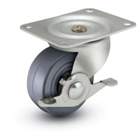 General Duty 3x1-1/4 Hard Rubber Swivel Caster with Side Brake