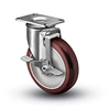 Medium Duty 3 x 1-1/4 Polyurethane Swivel Caster with Top Lock Brake