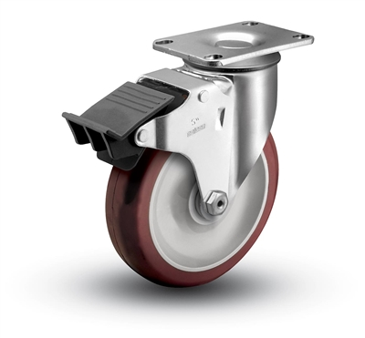 Medium Duty 3-1/2x1-1/4 Polyurethane Swivel Caster with Total Caster Lock