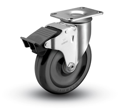 Medium Duty 3-1/2x1-1/4 Polyolefin Swivel Caster with Total Caster Lock