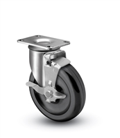 Medium Duty 4x1-1/4 Polyolefin Swivel Caster with Top Lock