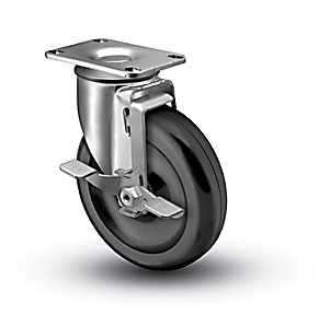 Medium Duty 5x1-1/4 Polyolefin Swivel Caster with Top Lock