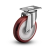 Stainless Steel Medium Duty 4x1-1/4 PolyUrethane Swivel Caster