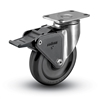 Stainless Steel Medium Duty 5x1-1/4 Polyolefin Swivel Catser with Total Caster Brake