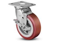 Heavy Duty 4x2 Polyurethane Swivel Caster with Top Lock Brake