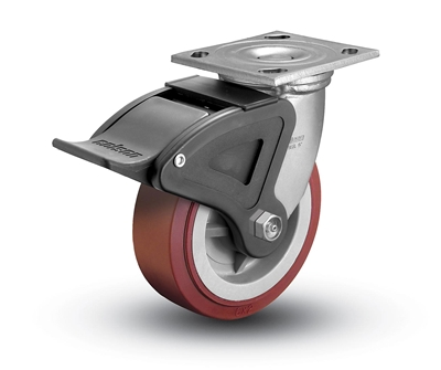 Heavy Duty 5x2 Polyurethane Swivel Caster with Total Caster Brake