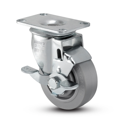Medium Duty 3x1-1/4 Thermo Plastic Rubber Swivel Caster with Top Lock Brake