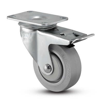 Medium Duty 3-1/2x1-1/4 Thermo Plastic Rubber Swivel Caster with Total Caster Lock