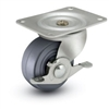 General Duty 2x13/16 Hard Rubber Swivel Caster with Side Brake