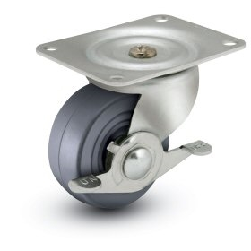 General Duty 2-1/2x1-1/8 Hard Rubber Swivel Caster with Side Brake