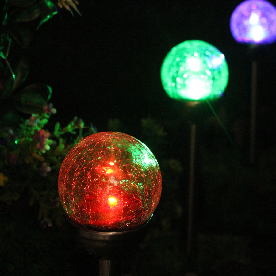 Crackle Glass Solar Color Changing Amp White Led Bronze Path