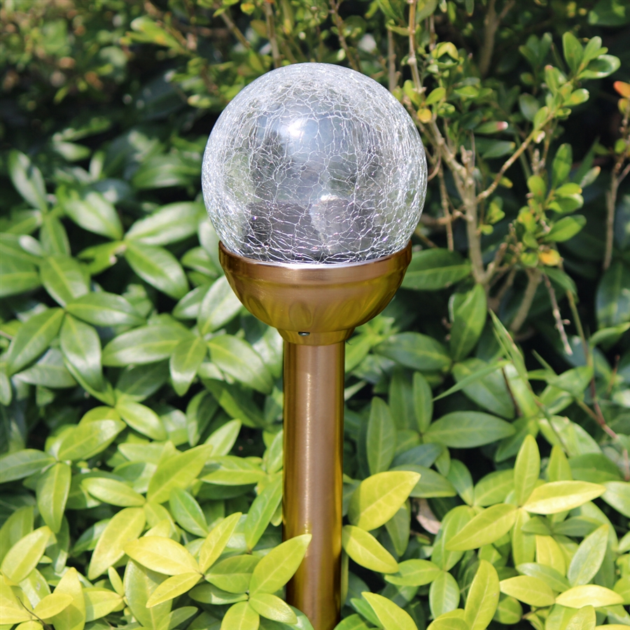 Crackle Glass Solar Color Changing Amp White Led Copper Path