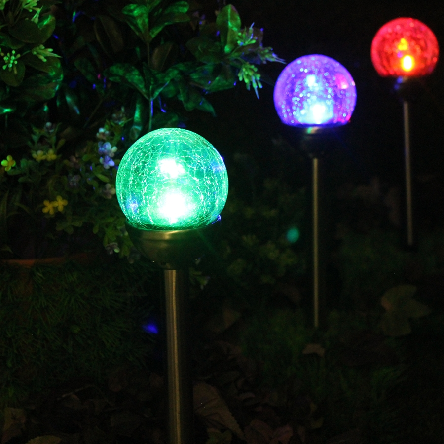 Crackle Glass Solar Color Changing U0026 White LED Stainless Steel Path Lights    Set Of