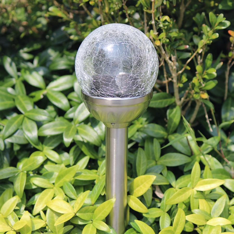 Crackle Glass Solar ColorChanging White LED Stainless Steel