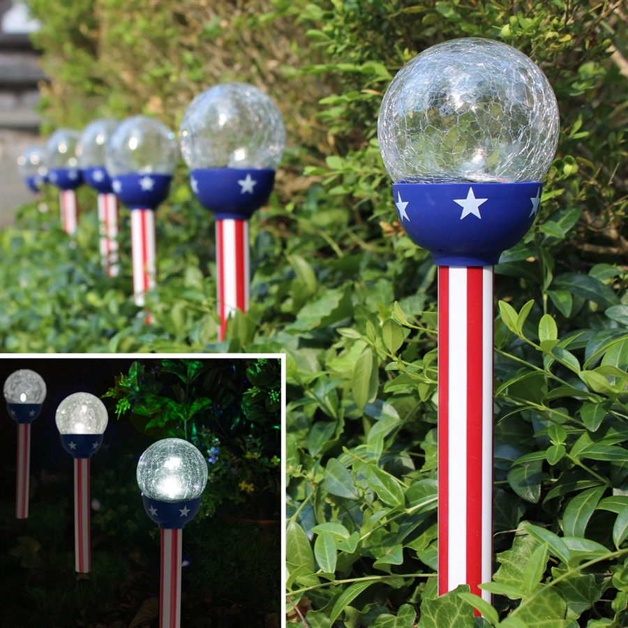 solar patriotic american flag design 315u201d crackle glass path lights set of six - Path Lights