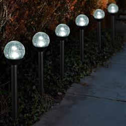 Solar Powered path lights 2.5u201d Crackle Glass Path Lights: Set of Thirty-six  ...