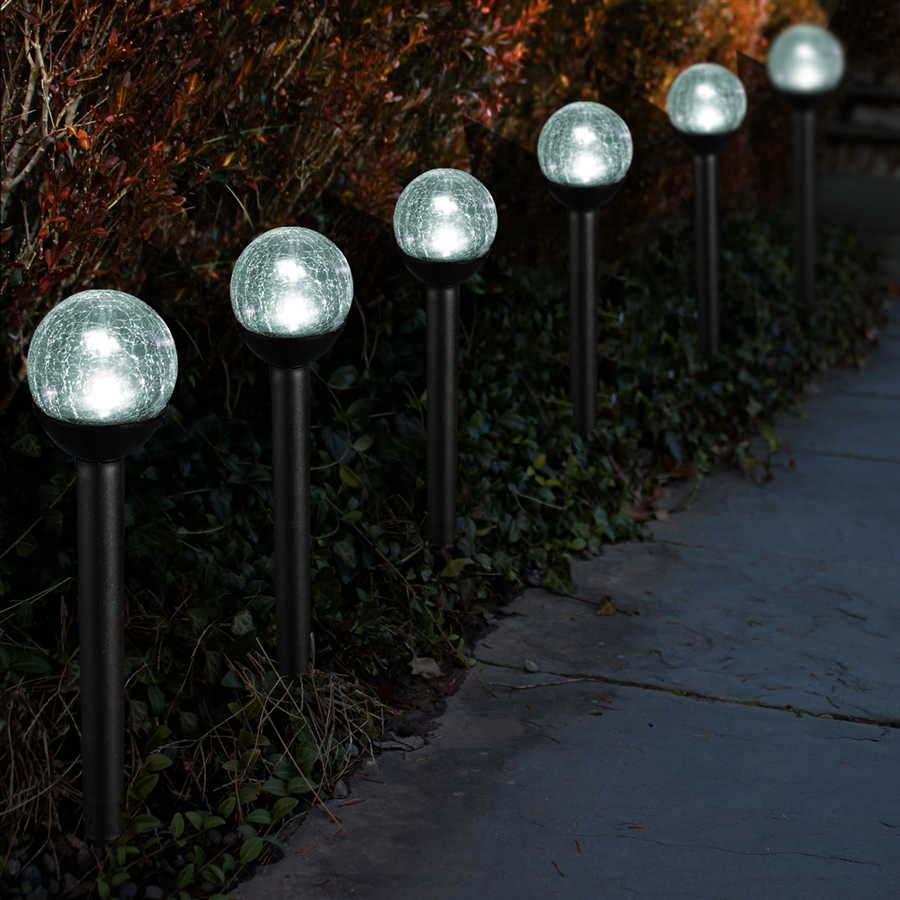 Solar Path Lights Part - 42: Solar Powered Path Lights 2.5u201d Crackle Glass Path Lights: Set Of Thirty-six