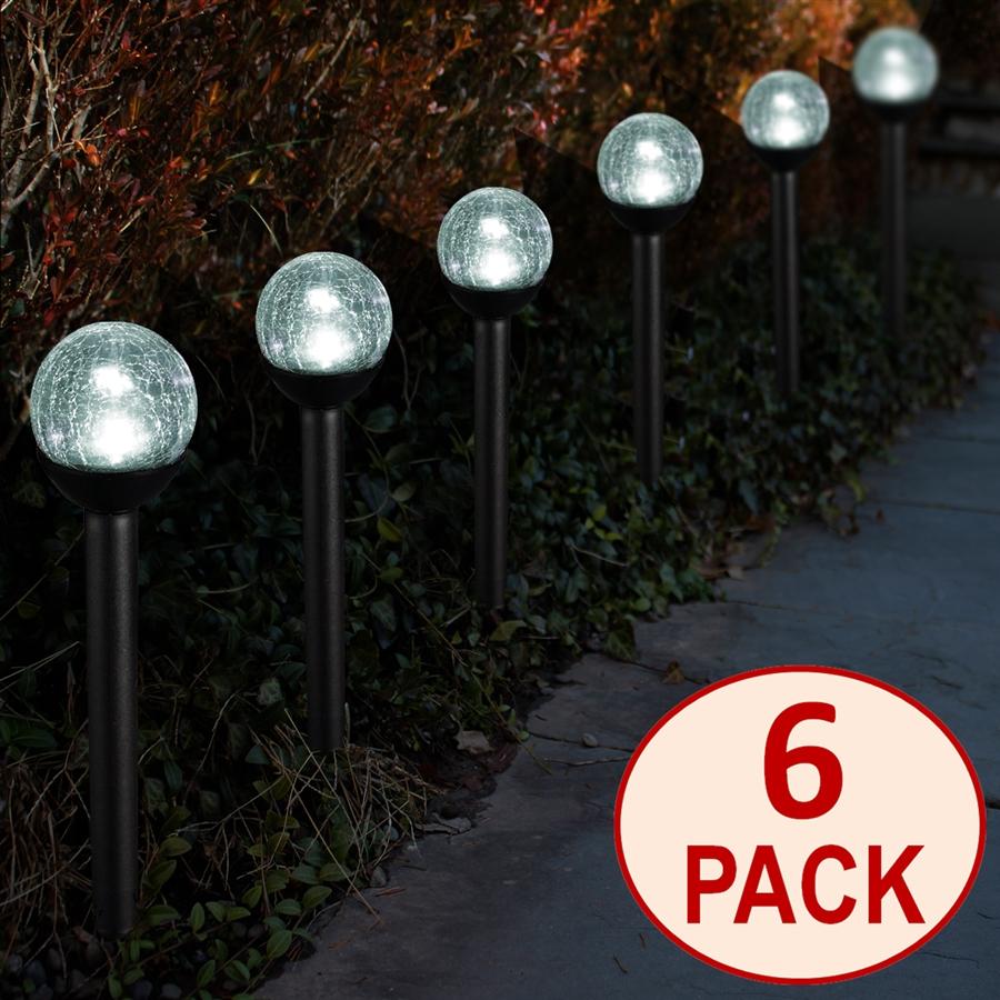 Solar Powered Black Path Lights 2 5 Crackle Glass Path