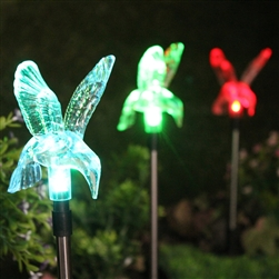 Solar Powered Color Changing Hummingbird Garden Stakes Set Of 3 Put On A  Color Changing Light Show At Night.